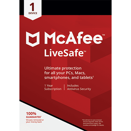 McAfee LiveSafe (1 Year, 1 Device) [Download]