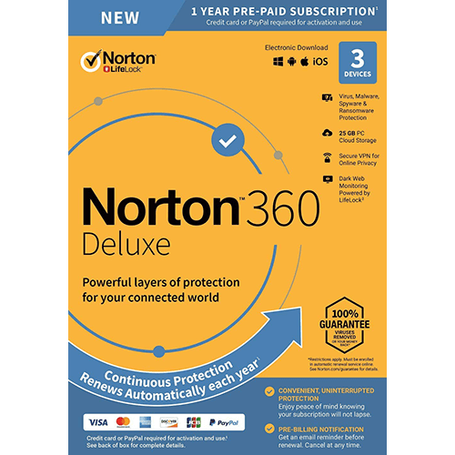 Norton 360 Deluxe (1 Year / 3 Device) [Download]